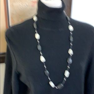 Black, white and tiny silver beads  16 in drop